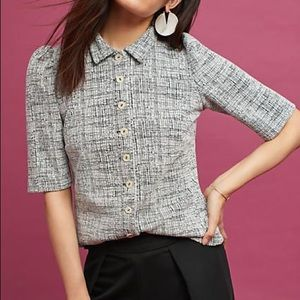 Vanessa Virginia puff sleeve button up grey